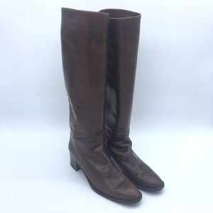 Tall brown leather heeled boots